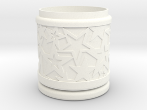 Gift Box No. 1 with Stars (solid-filigree, high) in White Processed Versatile Plastic