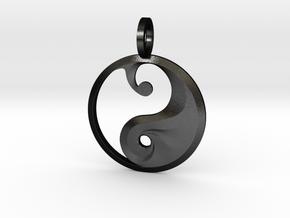 Yin Yang Pendant in Matte Black Steel