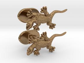 Gecko cufflinks in Natural Brass