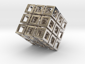 Cube1 in Rhodium Plated Brass: Small
