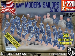 1/220 USN Modern Sailors Set001 in Smoothest Fine Detail Plastic