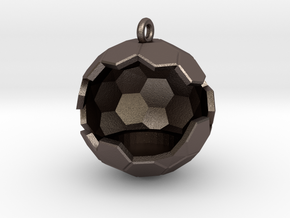 Geode Ornament in Polished Bronzed Silver Steel