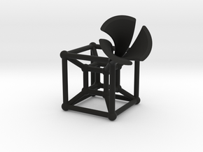HyperCube Type 2 (miniature) in Black Natural Versatile Plastic