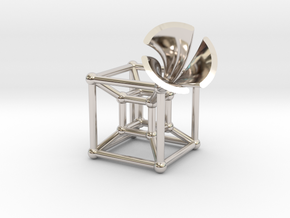 HyperCube Type 2 (miniature) in Rhodium Plated Brass