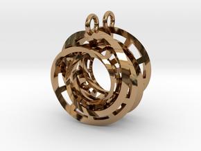 Interlocking Möbius Ladders Earrings in Polished Brass (Interlocking Parts)