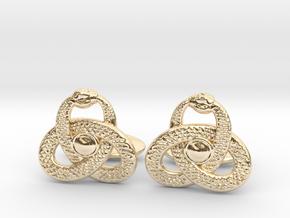 Ouroboros Triquetra Cufflinks  in 14k Gold Plated Brass