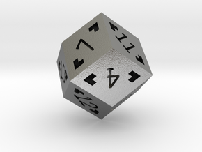 Rhombic 12 Sided Die - Large in Natural Silver