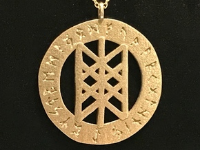 Rune Pendant - Web of the Wyrd in Polished Bronzed Silver Steel