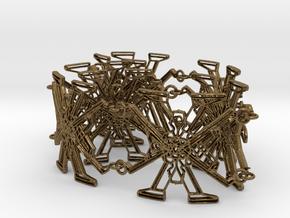 Metal X Bracelet Big 34 cm long in Natural Bronze (Interlocking Parts): Large