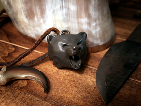 Bear Head Pendant in Polished and Bronzed Black Steel