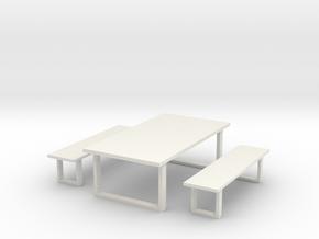 Industrial Dinning Set 1 in White Natural Versatile Plastic