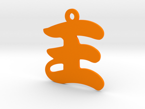 Wang Character Ornament in Orange Processed Versatile Plastic