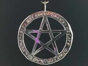 Pentacle pendant - Goddess chant in Rhodium Plated Brass