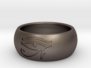 "Ring engraved with ""EYE of HORUS""  in Polished Bronzed Silver Steel"