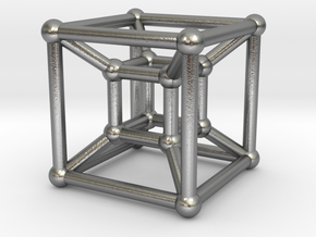 HyperCube (Miniature) in Natural Silver
