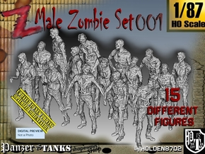 1/87 Male Zombie Set001 in Smooth Fine Detail Plastic