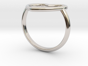 Heart Ring 17mm Cuore Sottile Forato in Rhodium Plated Brass