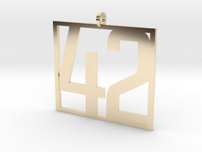 42 Pendant in 14k Gold Plated Brass