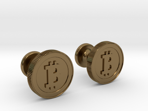 Bitcoin Cufflinks in Polished Bronze