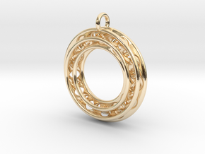 Pendant: Moebius Triple Ø 30mm in 14k Gold Plated Brass