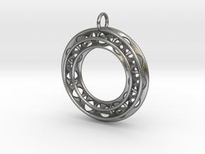 Pendant: Moebius Triple Ø 30mm / Medium Thickness in Natural Silver