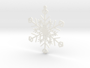 Latticework Snowflake Ornament in White Strong & Flexible Polished