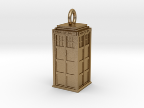 Tardis Pendant   Gold and Beautiful in Polished Gold Steel