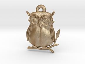 Cute Owl Pendant in Matte Gold Steel: Medium