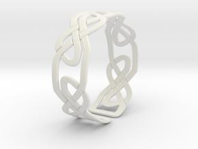 Celtic Knot Bracelet in White Natural Versatile Plastic: Extra Small