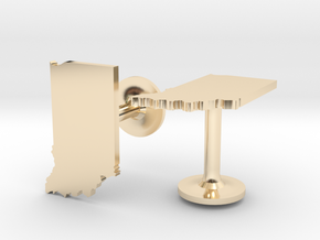 Indiana State Cufflinks in 14k Gold Plated Brass