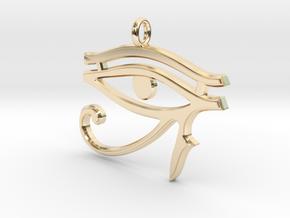 Eye of Horus Pendant 2 v1 in 14k Gold Plated Brass
