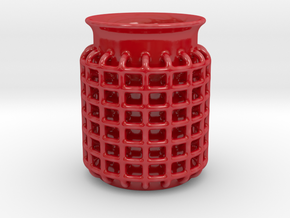 Cage Coffee Mug in Gloss Red Porcelain