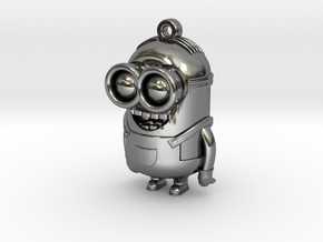 Minion Dave Charm by Poh & 3DMagicMakers in Fine Detail Polished Silver