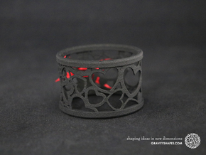 A large napkin ring with Hearts  in Black Natural Versatile Plastic