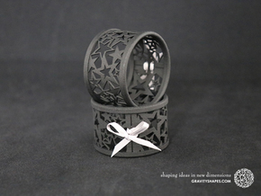 Set of 2 large Christmas napkin rings with Stars in Black Natural Versatile Plastic