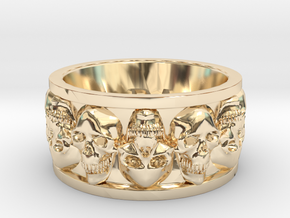 Faced Skullring (Size 10) in 14K Yellow Gold
