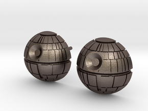 Death Star Studs in Polished Bronzed Silver Steel