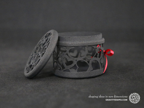 Gift Box round No. 1 with Hearts (filigree, short) in Black Natural Versatile Plastic