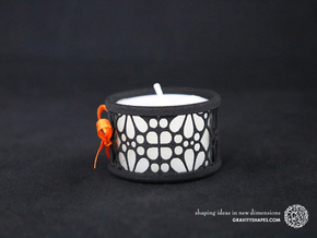 Set of 2 small tealight holders with Mosaic-3a in Black Natural Versatile Plastic