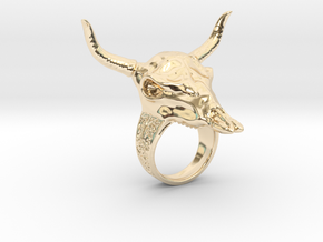 Skull Cow in 14K Yellow Gold