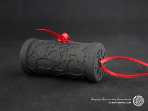 Solid Gift roll small with Hearts (6 cm) in Black Natural Versatile Plastic