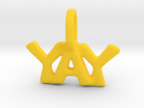 """Yay"" Pendant in Yellow Processed Versatile Plastic"