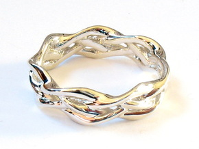 'Swoop' Braid Ring, size 8.25 in Fine Detail Polished Silver
