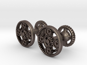 Gearcog cufflinks in Polished Bronzed Silver Steel