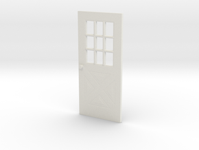 1:64 scale Exterior door with cross pattern in White Strong & Flexible
