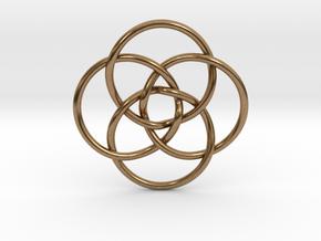"""Quadruple Vesica Piscis Pendant 1.2"""" in Natural Brass"""