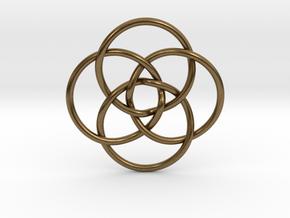 """Quadruple Vesica Piscis Pendant 1.2"""" in Natural Bronze"""