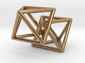 Interlocking Octahedron in Polished Brass (Interlocking Parts)