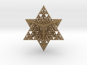 Sierpinski Merkaba 12 cm  in Polished Gold Steel