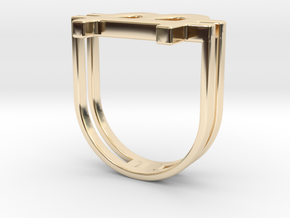 Bitcoin Ring 18 in 14k Gold Plated Brass